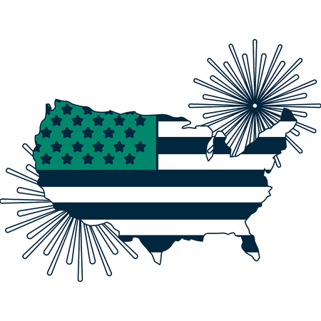 united states of america map with flag and fireworks vector illustration design Illustration