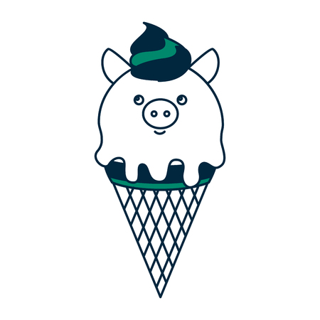 ice cream in cone with face pig vector illustration design