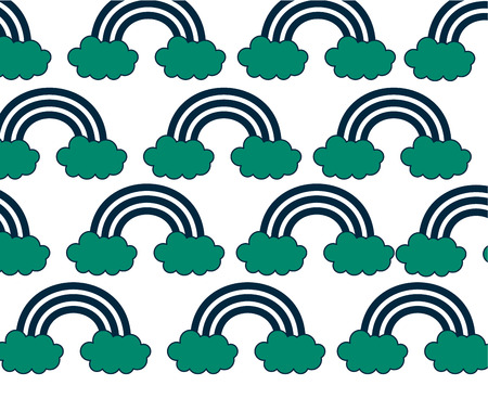 rainbow with clouds pattern background vector illustration design