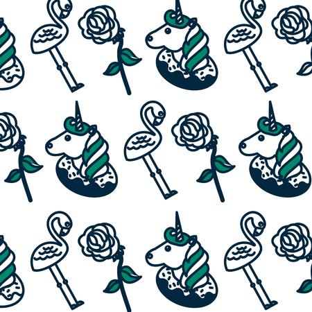 Schattige fantasie eenhoorn met vlaams en rozen patroon vector illustratie ontwerp Stockfoto - 98753604