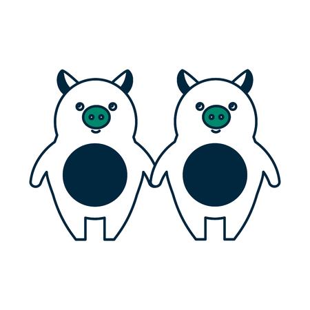 かわいい子豚カップルベクターイラストデザイン