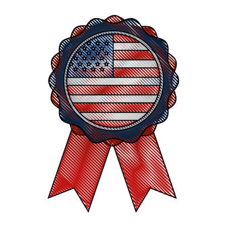 rosette ribbon american flag emblem vector illustration drawing