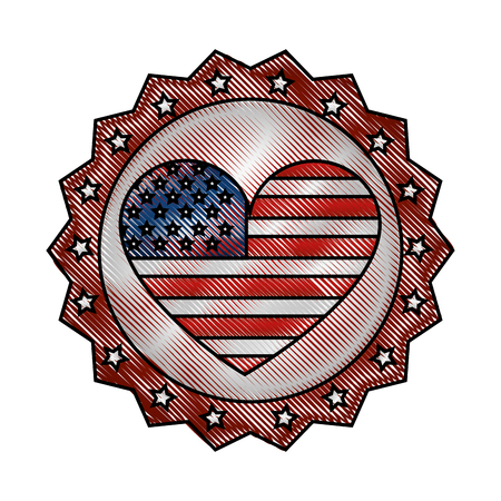 vintage label american flag heart ornament vector illustration drawing