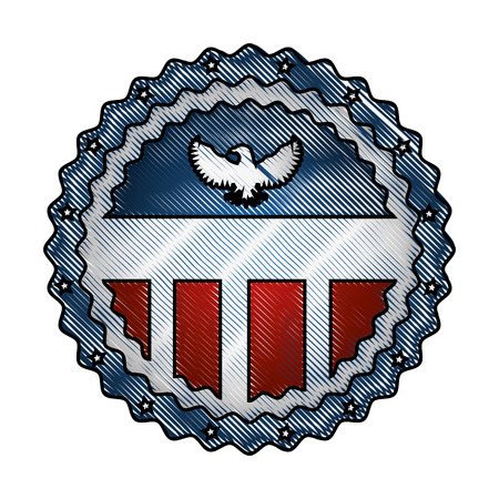 vintage label american flag eagle ornament vector illustration drawing Stock fotó - 98873991
