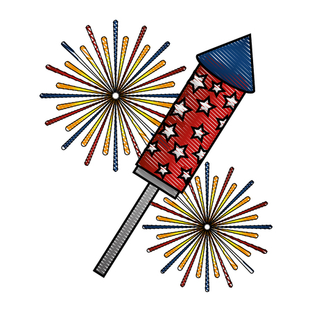 rocket fireworks event festival explosions vector illustration drawing