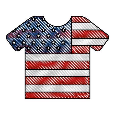 sport tshirt with american flag vector illustration drawing Illusztráció