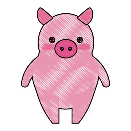 standing piggy cute farm animal vector illustration drawing