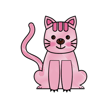 sweet kitty sitting cartoon animal patch vector illustration drawing Иллюстрация