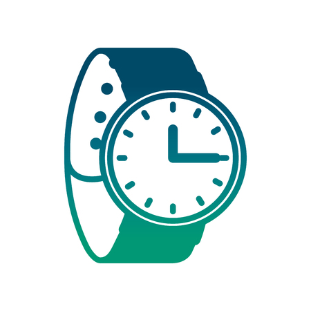 wrist watch time accessory trendy vector illustration degraded green color