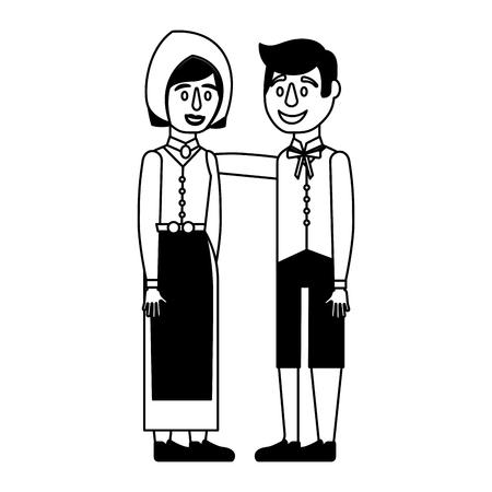 swedish couple embraced national clothing vector illustration