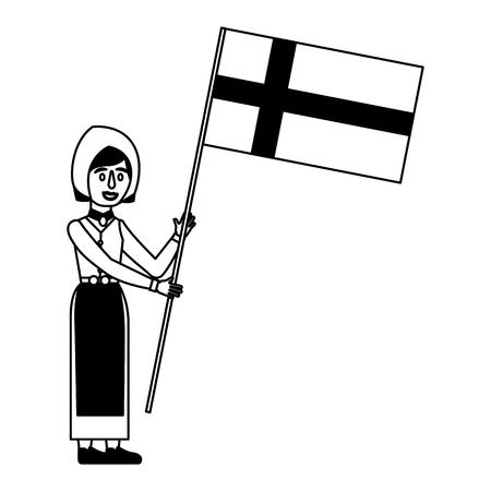 スウェーデンの伝統的な民族衣装ベクトルイラストで旗を持つ女性  イラスト・ベクター素材