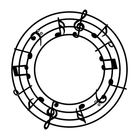 music note sound audio round stave vector illustration Vectores