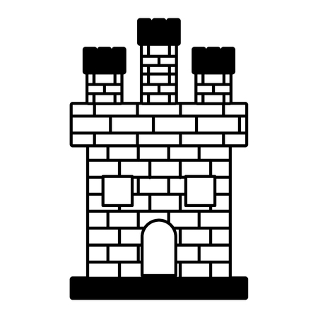 medieval castle brick facade kingdom ancient vector illustration