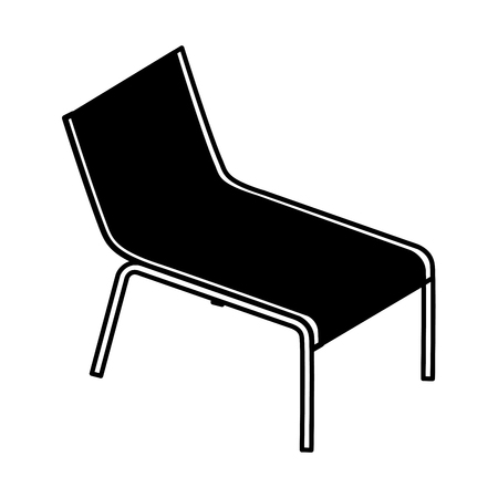 wooden beach chair relaxing comfort vector illustration  イラスト・ベクター素材