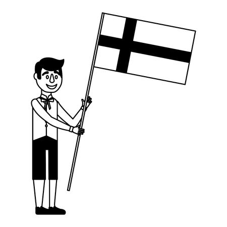 伝統的なスウェーデンの服のベクトルイラストでスウェーデンの旗を持つ男