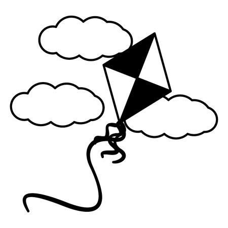 toy kite flying in the sky clouds vector illustration