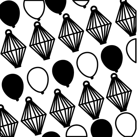 decorative balloons and sky lantern background vector illustration