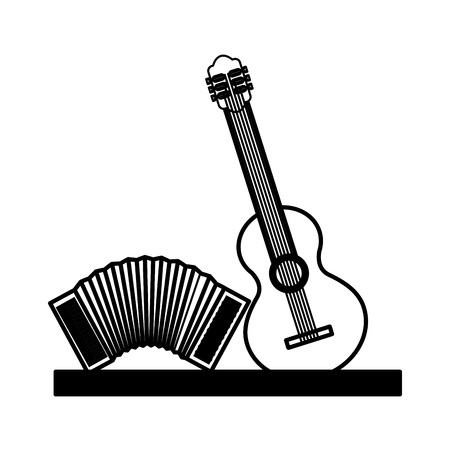 musical instruments accordion and guitar classic vector illustration Çizim
