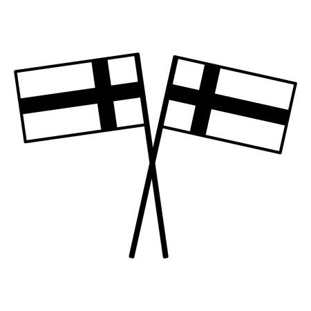 Schwedische Flaggen gekreuzt Pol National Emblem Vektor-Illustration Standard-Bild - 98780269