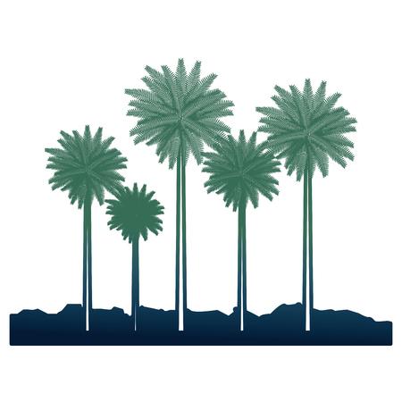 skyline beach island tree palms tropical vector illustration Stockfoto - 98780271