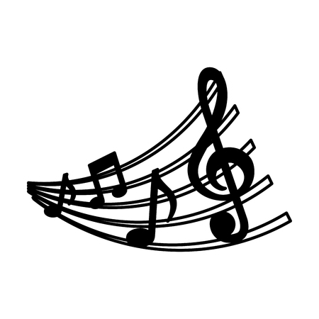 set of music notes and staff image vector illustration Çizim