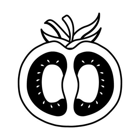 half tomato harvest ripe raw organic vector illustration