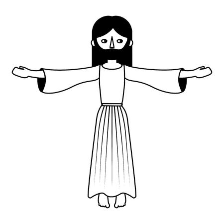 神聖な宗教的ベクトルのイラストを祈るイエス・キリスト