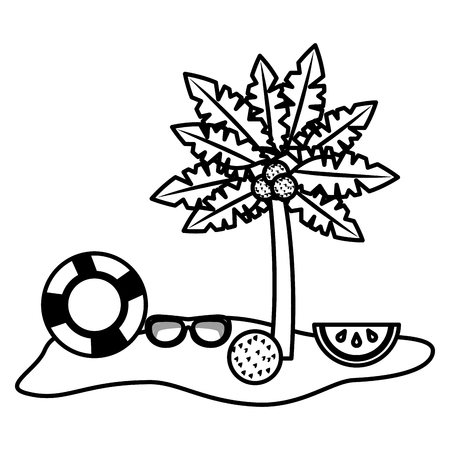 tropical palm coconut beach ball sunglasses lifebuoy vector illustration