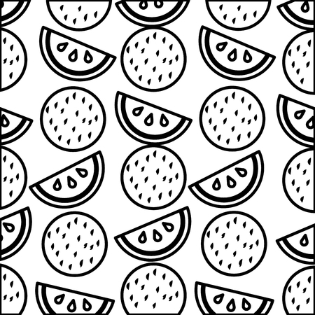 tropical watermelon coconut fruits exotic pattern vector illustration