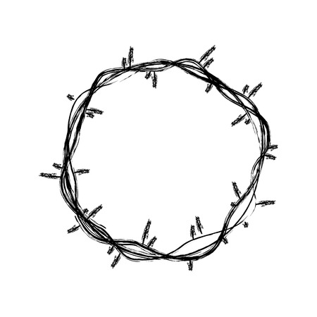 crown of thorns Jesus Christ sketch vector illustration