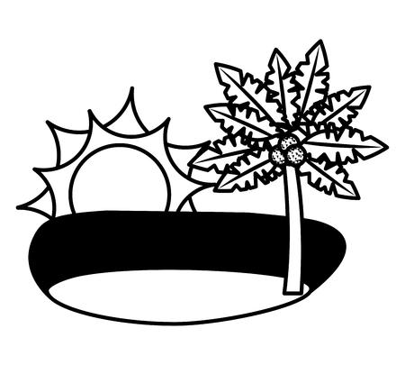 tropical beach palm coconut sand sun vector illustration