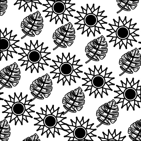 tropical leaves palm and sunflower exotic pattern vector illustration