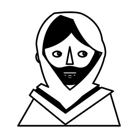 イエス・キリストスピリチュアリティコンセプトベクターイラストの顔  イラスト・ベクター素材