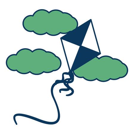 Toy Kite fliegen in den Himmel Wolken Vektor-Illustration grün und blau Standard-Bild - 98789071
