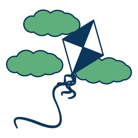 toy kite flying in the sky clouds vector illustration green and blue Ilustrace