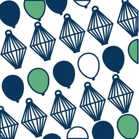 decorative balloons and sky lantern background vector illustration green and blue