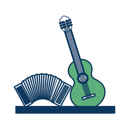 musical instruments accordion and guitar classic vector illustration green and blue