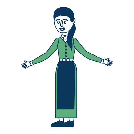 woman in swedish traditional folk costume vector illustration green and blue  イラスト・ベクター素材