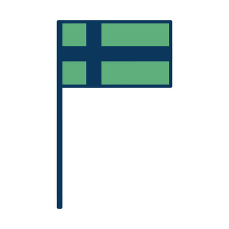 swedish national flag in pole emblem vector illustration green and blue