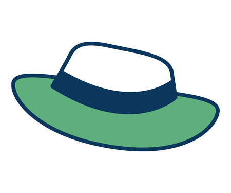 hat for men accessory old fashion vector illustration green and blue
