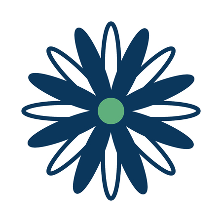 blue and green flower daisy decoration vector illustration