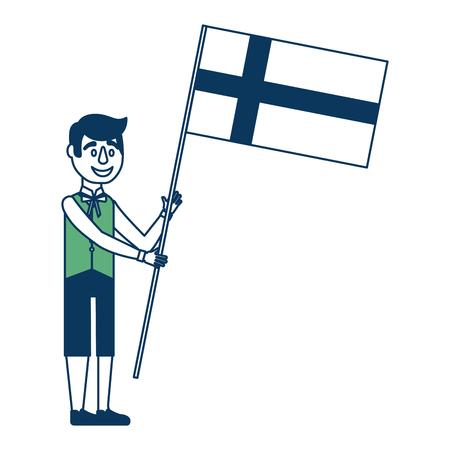 伝統的なスウェーデンの服のベクトルイラスト緑と青でスウェーデンの旗を持つ男  イラスト・ベクター素材