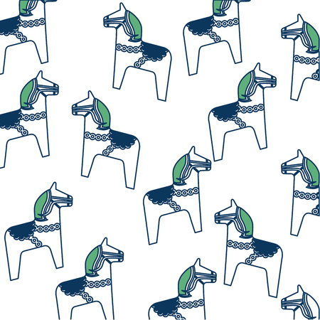 Decoration horse equine animal pattern vector illustration green and blue.