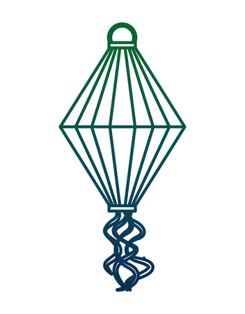 sky lantern flying stripes decoration image vector illustration green and blue