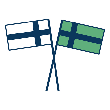Swedish flags crossed pole national emblem vector illustration green and blue. Ilustração