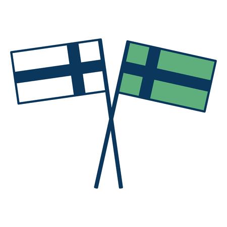 Zweedse vlaggen gekruiste groen en blauwe vectorillustratie van het pool de nationale embleem. Stockfoto - 98786887