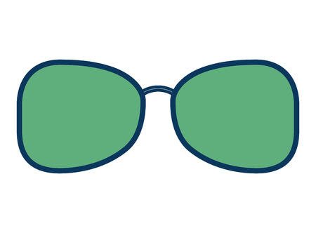 sunglasses optic accessory object icon vector illustration green and blue