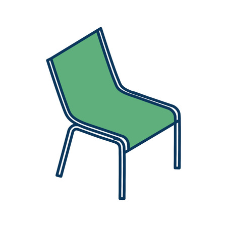 deck chair beach supply furniture icon vector illustration green and blue