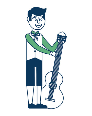 man holding guitar with traditional swedish clothes vector illustration green and blue 向量圖像