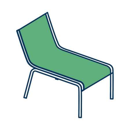 wooden beach chair relaxing comfort vector illustration green and blue